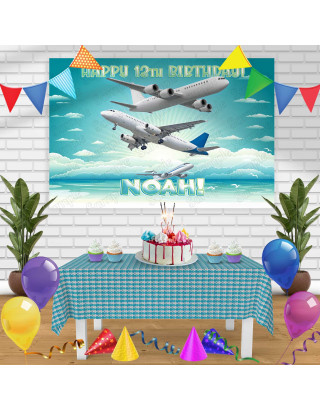 Airplane Birthday Banner Personalized Party Backdrop Decoration