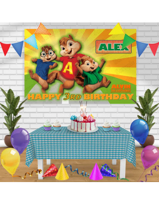 Alvin and the Chipmunks Birthday Banner Personalized Party Backdrop Decoration