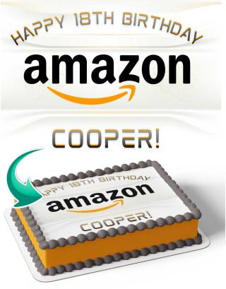 Amazon AMZ1 Edible Image Cake Topper Personalized Birthday Sheet Decoration Custom Party Frosting Transfer Fondant