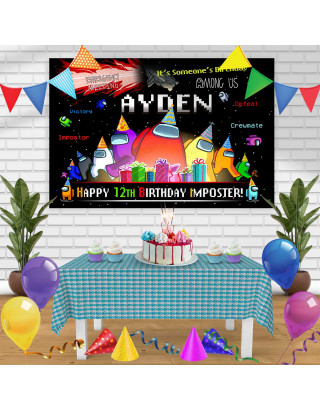 Among Us 1 Birthday Banner Personalized Party Backdrop Decoration