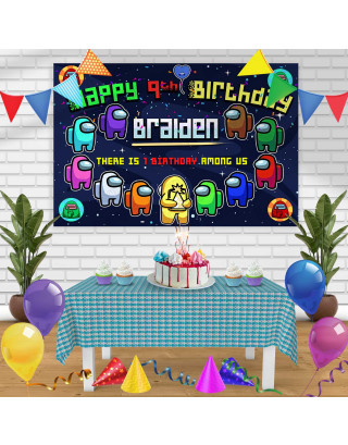 Among Us 2 Birthday Banner Personalized Party Backdrop Decoration