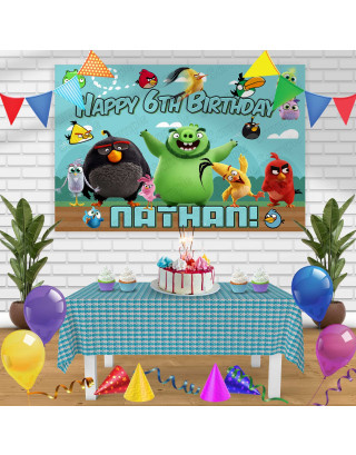 Angry Birds Birthday Banner Personalized Party Backdrop Decoration