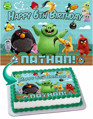 Angry Birds 2020 Edible Image Cake Topper Personalized Birthday Sheet Decoration Custom Party Frosting Transfer Fondant