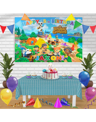 Animal Crossing New Horizons Birthday Banner Personalized Party Backdrop Decoration