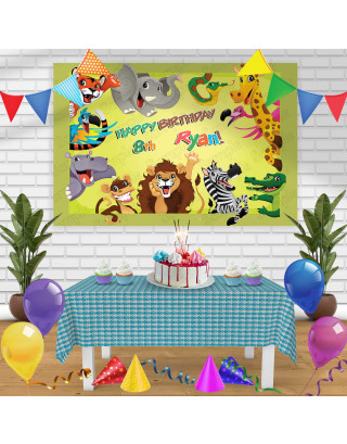 Animals Birthday Banner Personalized Party Backdrop Decoration