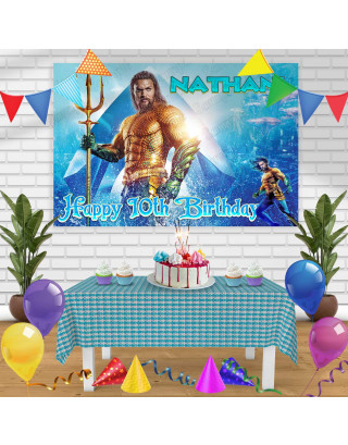 Aquaman Birthday Banner Personalized Party Backdrop Decoration