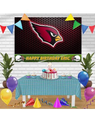 Arizona Cardinals Birthday Banner Personalized Party Backdrop Decoration