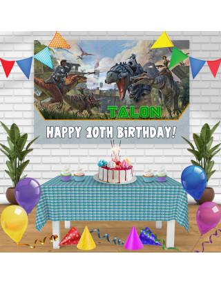 Ark Survival Involved Birthday Banner Personalized Party Backdrop Decoration