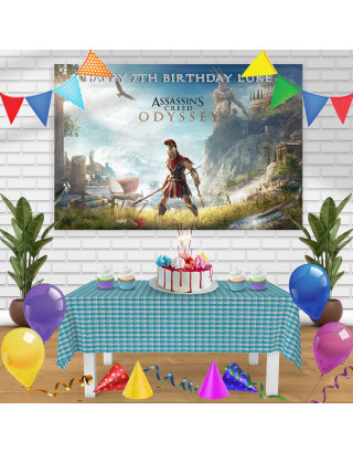 Assassins Creed Odyssey Birthday Banner Personalized Party Backdrop Decoration
