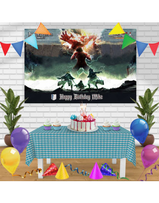 Attack on Tittan Birthday Banner Personalized Party Backdrop Decoration