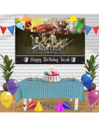 Attack on Tittan Season 1 Birthday Banner Personalized Party Backdrop Decoration