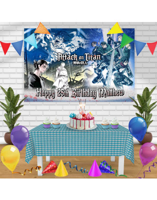 Attack on Tittan Season 2 Birthday Banner Personalized Party Backdrop Decoration