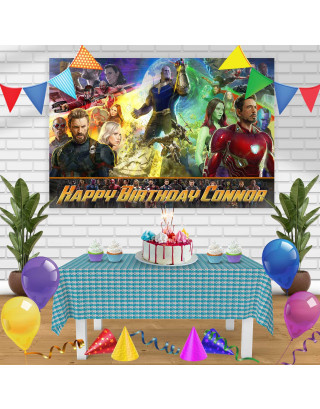 Avengers Infinity War 2 Birthday Banner Personalized Party Backdrop Decoration