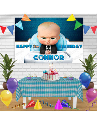 Baby Boss 1 Birthday Banner Personalized Party Backdrop Decoration