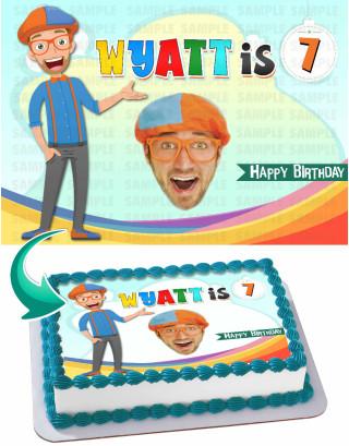 Blippi Edible Image Cake Topper Personalized Birthday Sheet Decoration Custom Party Frosting Transfer Fondant
