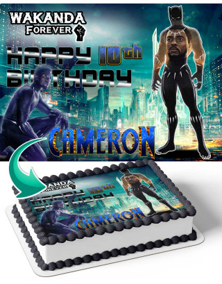 Black Panther Wakanda Forever Edible Image Cake Topper Personalized Birthday Sheet Decoration Custom Party Frosting Transfer Fondant