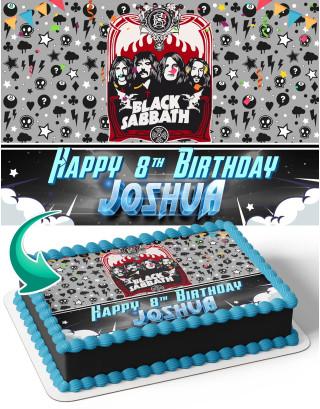 Black Sabbath Rock Band Edible Image Cake Topper Personalized Birthday Sheet Decoration Custom Party Frosting Transfer Fondant
