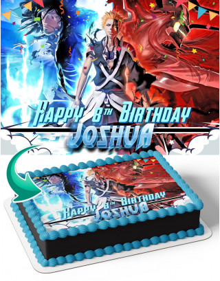 Bleach Anime BL Edible Image Cake Topper Personalized Birthday Sheet Decoration Custom Party Frosting Transfer Fondant