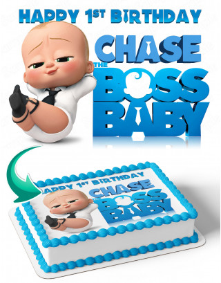 Boss Baby BB Edible Image Cake Topper Personalized Birthday Sheet Decoration Custom Party Frosting Transfer Fondant
