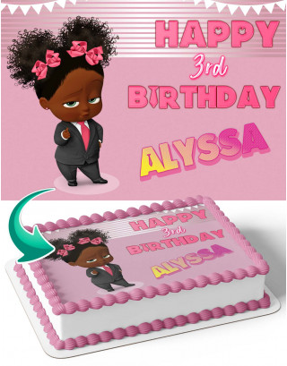 Baby Boss Girl  Edible Image Cake Topper Personalized Birthday Sheet Decoration Custom Party Frosting Transfer Fondant