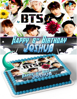 BTS Boy Band Edible Image Cake Topper Personalized Birthday Sheet Decoration Custom Party Frosting Transfer Fondant