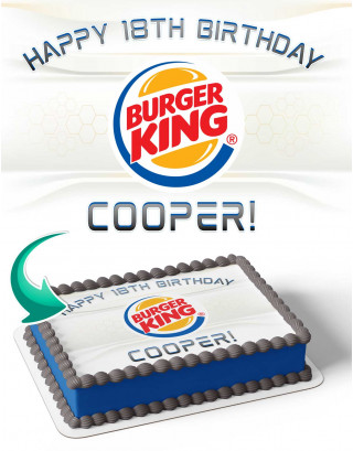 Burger king Edible Image Cake Topper Personalized Birthday Sheet Decoration Custom Party Frosting Transfer Fondant