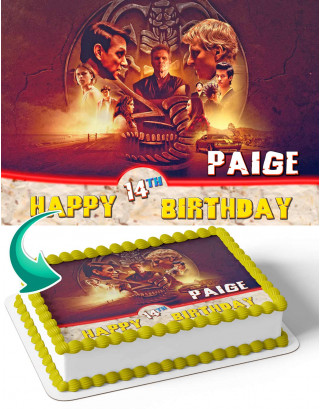 Cobra Kai Edible Image Cake Topper Personalized Birthday Sheet Decoration Custom Party Frosting Transfer Fondant