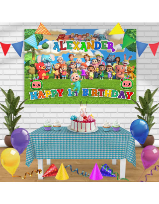 Cocomelon 2 Birthday Banner Personalized Party Backdrop Decoration