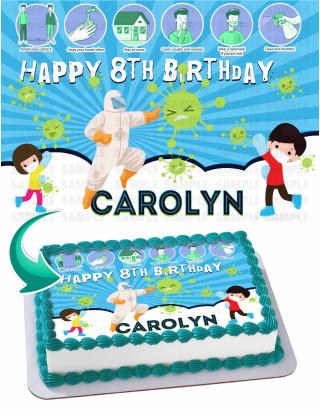 Covid19 Coronavirus Edible Image Cake Topper Personalized Birthday Sheet Decoration Custom Party Frosting Transfer Fondant
