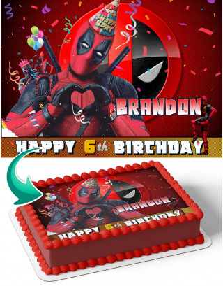 Deadpool Edible Image Cake Topper Personalized Birthday Sheet Decoration Custom Party Frosting Transfer Fondant