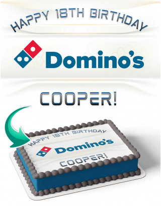 Domino's Pizza Edible Image Cake Topper Personalized Birthday Sheet Decoration Custom Party Frosting Transfer Fondant