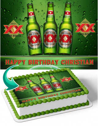 Dos Equis Edible Image Cake Topper Personalized Birthday Sheet Decoration Custom Party Frosting Transfer Fondant