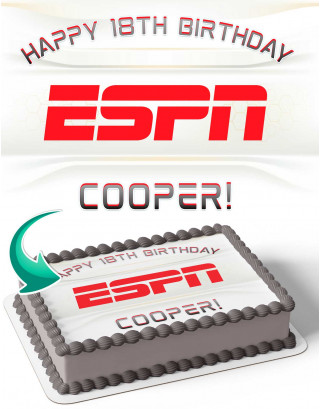 ESPN Edible Image Cake Topper Personalized Birthday Sheet Decoration Custom Party Frosting Transfer Fondant