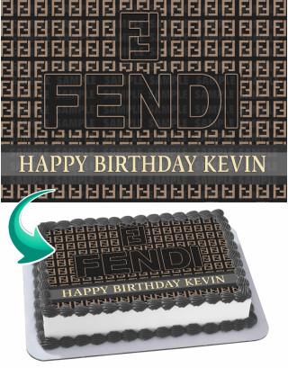 Fendi Edible Image Cake Topper Personalized Birthday Sheet Decoration Custom Party Frosting Transfer Fondant
