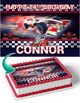 Formula 1 Edible Image Cake Topper Personalized Birthday Sheet Decoration Custom Party Frosting Transfer Fondant