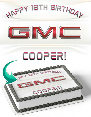 GMC General Motor Company Edible Image Cake Topper Personalized Birthday Sheet Decoration Custom Party Frosting Transfer Fondant