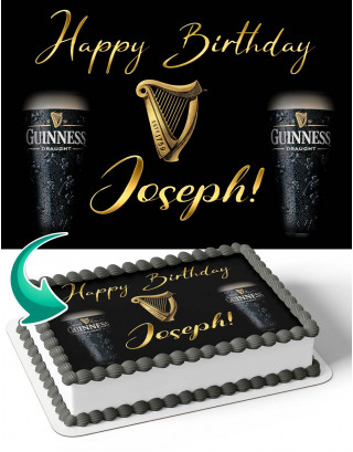 Guinness Beer Edible Image Cake Topper Personalized Birthday Sheet Decoration Custom Party Frosting Transfer Fondant