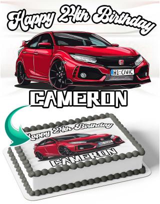Honda Civic Edible Image Cake Topper Personalized Birthday Sheet Decoration Custom Party Frosting Transfer Fondant