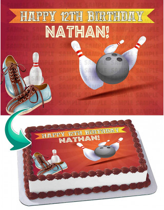 Bowling Edible Image Cake Topper Personalized Birthday Sheet Decoration Custom Party Frosting Transfer Fondant