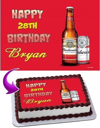 Budweiser Beer Edible Image Cake Topper Personalized Birthday Sheet Decoration Custom Party Frosting Transfer Fondant