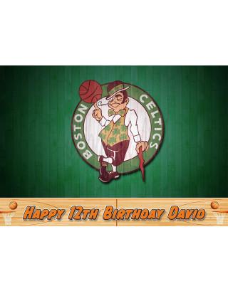 Boston Celtics Basketball Edible Image Cake Topper Personalized Birthday Sheet Decoration Custom Party Frosting Transfer Fondant