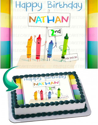 Crayons Edible Image Cake Topper Personalized Birthday Sheet Decoration Custom Party Frosting Transfer Fondant