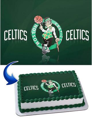 Boston Celtics Edible Image Cake Topper Personalized Birthday Sheet Decoration Custom Party Frosting Transfer Fondant