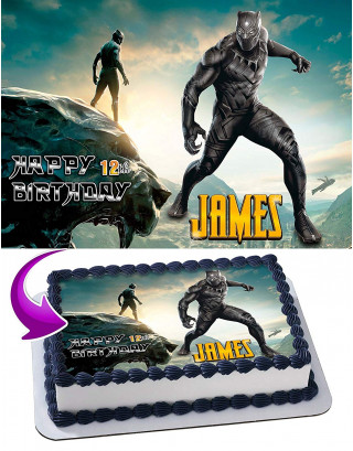 Black Panther Edible Image Cake Topper Personalized Birthday Sheet Decoration Custom Party Frosting Transfer Fondant