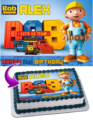 Bob the Builder Edible Image Cake Topper Personalized Birthday Sheet Decoration Custom Party Frosting Transfer Fondant