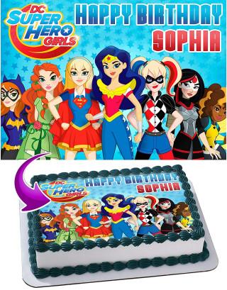 DC Super Hero Girls Edible Image Cake Topper Personalized Birthday Sheet Decoration Custom Party Frosting Transfer Fondant
