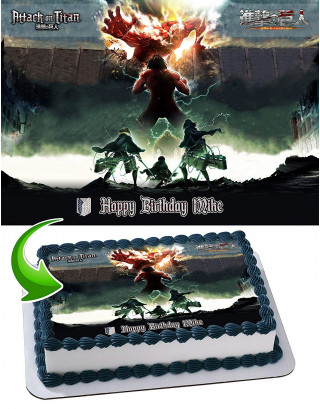Attack on Tittan Edible Image Cake Topper Personalized Birthday Sheet Decoration Custom Party Frosting Transfer Fondant
