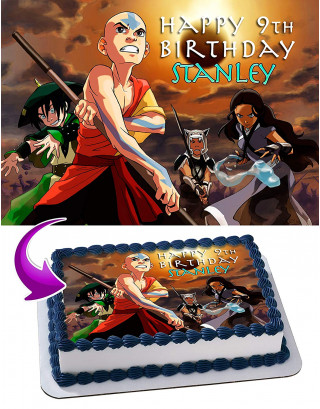 Avatar The Last Airbender Edible Image Cake Topper Personalized Birthday Sheet Decoration Custom Party Frosting Transfer Fondant