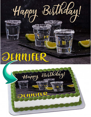 Tequila Edible Image Cake Topper Personalized Birthday Sheet Decoration Custom Party Frosting Transfer Fondant