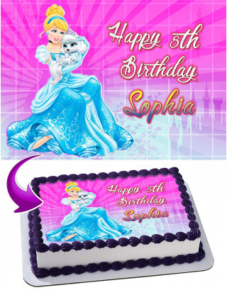 Cinderella Edible Image Cake Topper Personalized Birthday Sheet Decoration Custom Party Frosting Transfer Fondant
